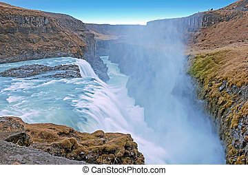 powerfull, gullfoss, 瀑布, 在, 冰島