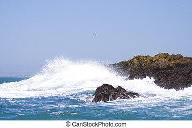 Powerfull Sea - Powerful wave crashing up against the rocks...