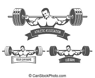 powerlifting, atletico, logotipo, set