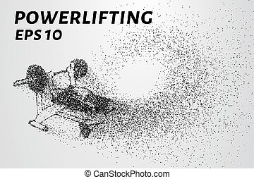 Powerlifting from the particles. Powerlifting of dots and circles. Powerlifting breaks down into smaller molecules. Vector illustration