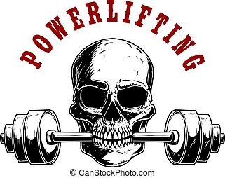 Powerlifting. Illustration of human skull with barbell in his teeth. Design element for poster, card, banner, emblem, t shirt. Vector illustration
