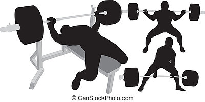 powerlifting, vector, siluetas