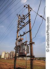 powerline, viejo, ocupado,  Goa