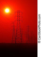 powerlines, coucher soleil