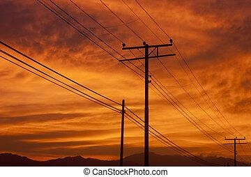 powerlines, silhouette