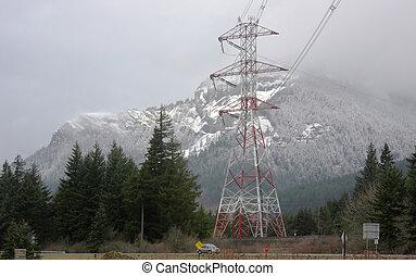 powerlines, &, tower.