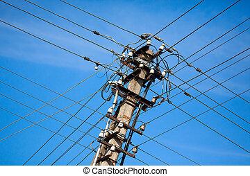 powerlines, viejo, eléctrico