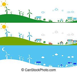 powerplant, eolic, photovoltaic, painéis, turbina
