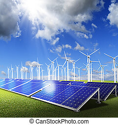 Powerplant with photovoltaic panels and eolic turbine on...