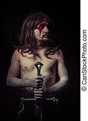 power.savage, strijder, met, ijzer, zwaard