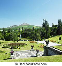 powerscourt, 山, ローフ, 庭, 砂糖, 郡, 背景, wicklow, アイルランド