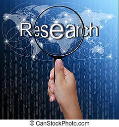 powiększający, sieć, słowo, tło, praca badawcza, szkło