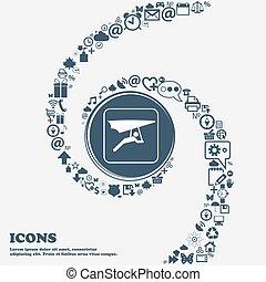 powie-szybownictwo, ikona, w, przedimek określony przed rzeczownikami, center., dookoła, przedimek określony przed rzeczownikami, dużo, piękny, symbolika, kręcił, w, niejaki, spiral., ty, może, korzystać, każdy, separately, dla, twój, design., wektor