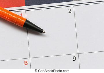 powierzchnia, concept., praca, 2, pióro, punkty, projektować, opróżniać, tło, pomarańcza, kalendarz, twój, dzień