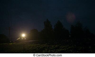 powierzchnia, mocny, pociąg, przez, noc, wiejski, chwilowy