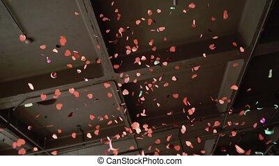 powietrze, confetti, partia, wybuch