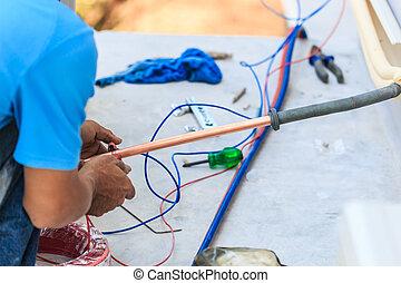 powietrze, część, conditioner., przygotowując, instalować,...
