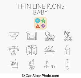 powinowaty, niemowlę, komplet, ikona, wektor, płaski