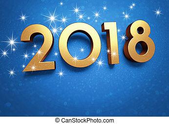 powitanie, 2018, rok, nowy, karta, szczęśliwy