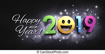 powitanie, 2019, rok, nowy, uśmiechanie się, karta