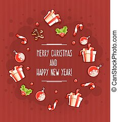 powitanie, dary, słodycze, chmura, kartka na boże narodzenie