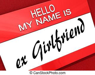 powitanie, girlfriend., mój, nazwa, ex