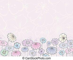 powitanie karta, kwiaty, dekoracyjny, łąka