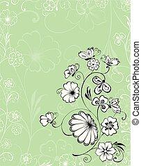 powitanie karta, motyle, dekoracyjny, flowering, gałązka