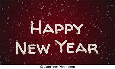 powitanie karta, szczęśliwy nowy rok, biały, beletrystyka, czerwone tło