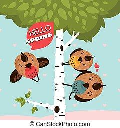 powitanie karta, z, ptaszki, i, drzewo
