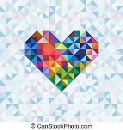 powitanie karta, z, serce, symbol., wektor