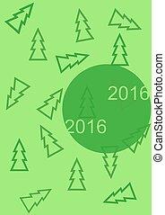 powitanie, nowy rok, karta, 2016, z, choinki