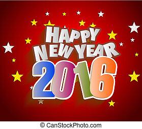 powitanie, rok, nowy, 2016, karta, szczęśliwy