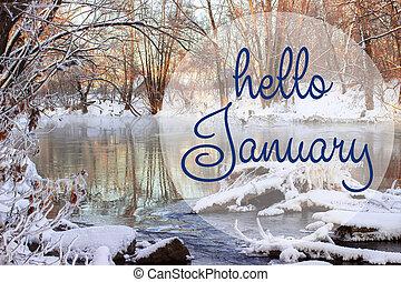 powitanie, styczeń, powitanie, card., zima, ferie, pojęcie