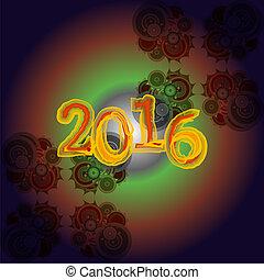 powitanie, twórczy, projektować, rok, nowy, 2016, karta, szczęśliwy