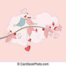 powitanie, valentine, karta, dzień