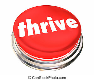 powodzenie, guzik, ilustracja, rozwój, thriving, prosperować, 3d
