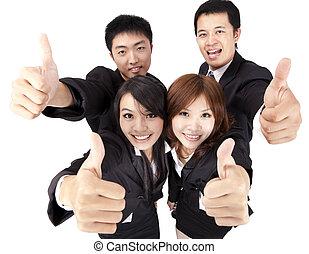 powodzenie, handlowy, do góry, młody, asian, drużyna, kciuk