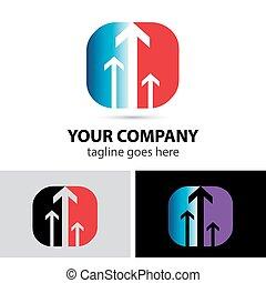 powodzenie, logo, handlowy, strzała ikona