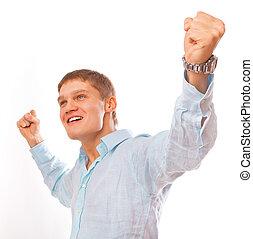powodzenie, młody, odizolowany, świętując, portret, biały, człowiek