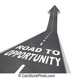 powodzenie, podróż, -, wzrost, sposobność, droga