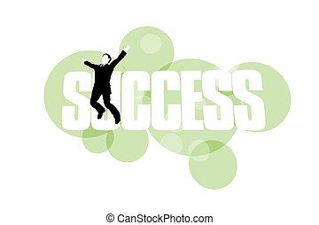 powodzenie, radość, przeciw, skokowy, tło, biznesmen