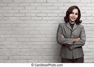 powodzenie, uśmiechnięta kobieta, asian handlowy