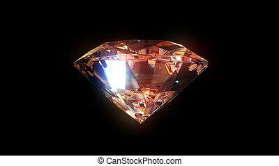 powoli, obracający, diament