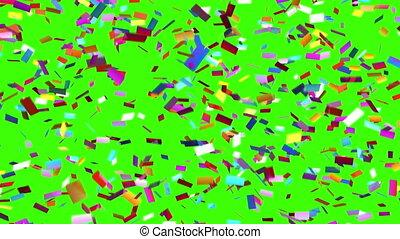 powoli, padając confetti, na, niejaki, zielone tło