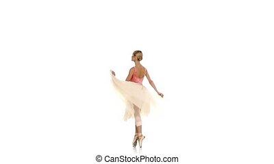 powoli taniec, balet, młody, ruch, przędzenie, tło, dziewczyna, biały