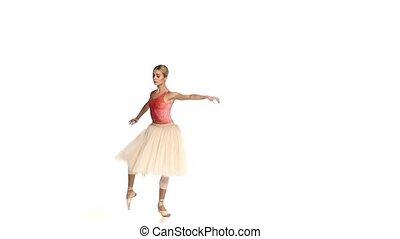 powoli taniec, balet, młody, ruch, tło, dziewczyna, biały
