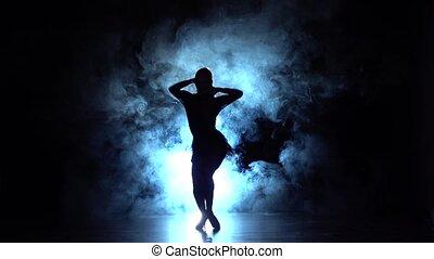 powoli taniec, dance., ruch, łacina, dym, dziewczyna