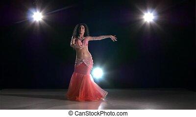 powoli taniec, nazad lekki, młody, ruch, tancerz, brzuch, czarnoskóry, dziewczyna