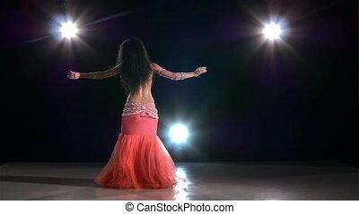 powoli taniec, nazad lekki, młody, ruch, tancerz, brzuch, iść, czarnoskóry, dziewczyna